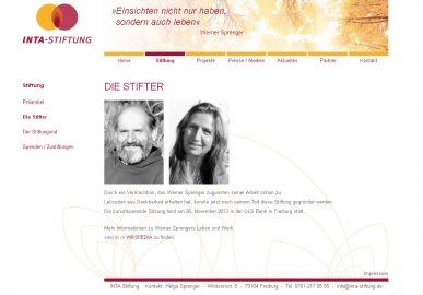 Webseite Inta-Stiftung